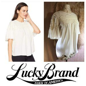 Lucky Brand Blouse in Cream Lace